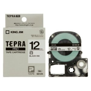 キングジム テプラ・プロ テープカートリッジ 白ラベル 12mm 黒文字 SS12K 1コ入  1個|atlife