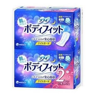 ユニ・チャーム ソフィ ボディフィット ナイトガード 夜用 羽なし 12コ×2×10組(12コ×20)の商品画像|ナビ