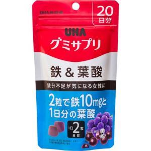UHA味覚糖 グミサプリ 鉄&葉酸 20日分 40粒 アサイーミックス味/4902750650060|atlife
