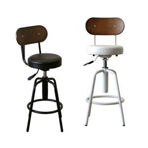 リーズナブル丸椅子 昇降式回転スツール チェア 白 黒 ブラック|atmack