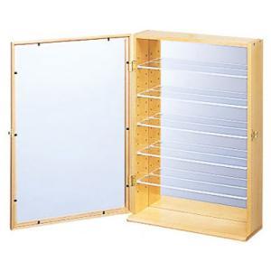コレクションケース 6段 木目 背面ミラー ガラス|atmack