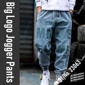 デニム ジョガーパンツ メンズ ストリートファッション ビッグロゴ 大きいサイズ ジーンズ ウェストゴム Gパン atmarvelous