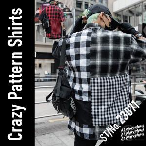 クレイジーパターン チェックシャツ メンズ ストリートファッション アシメ 半袖シャツ アシンメトリー atmarvelous