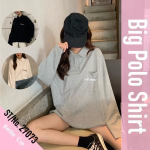 レディース ポロ襟 ロンT/ポロシャツ ビックシルエット ゆったり カットソー 韓国ファッション オ...