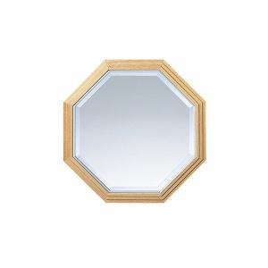 壁掛けミラー ウォールミラー 八角形 幅49cm おしゃれ 鏡 姿見 エントランス 木製 ナチュラル atom-style