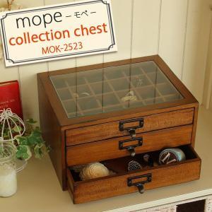 コレクションケース ガラス コレクションボックス 完成品 木製 アンティーク風 アクセサリーケース MOK-2523 モペ|atom-style
