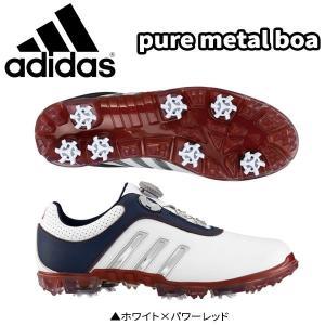 アディダス ゴルフ ピュアメタル ボア Q44616 ゴルフシューズ ホワイト×パワーレッド ADIDAS PURE METAL BOA|atomic-golf