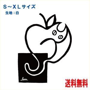猫Tシャツ 林檎猫 イラストT-シャツ 黒/赤2色 りんご|atoraskobo