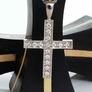 ペンダント クロス  母の日ギフト ダイヤモンド ホワイトゴールド ネックレス|atorie-shun