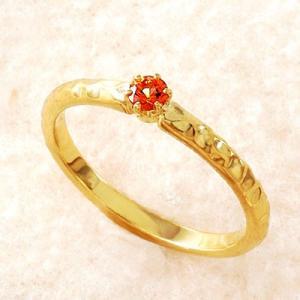 オレンジサファイア リング 指輪 18金 イエローゴールド ギフト プレゼント 一粒石 重ね着け|atorie-shun