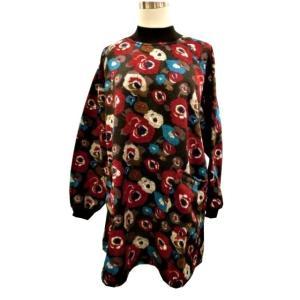 *・☆.。とてもお買い得品です。☆.。:・  裏起毛ハイネック花柄ラグラン袖♪Aラインチュニック プ...