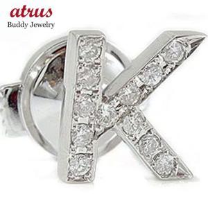 イニシャル K ダイヤモンド プラチナ ピンブローチ ラペルピン タックピン ダイヤ 送料無料