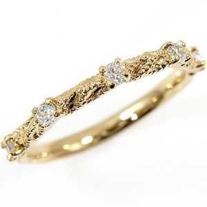 ピンキーリング ダイヤモンド リング イエローゴールドk10 指輪 k10ダイヤモンド 0.15ct 10金 ダイヤ ストレート|atrus