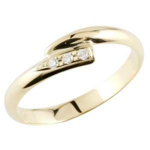 ピンキーリング ダイヤモンド リング イエローゴールドk10 0.04ct 指輪 k10 10金 ダイヤ ストレート 宝石|atrus
