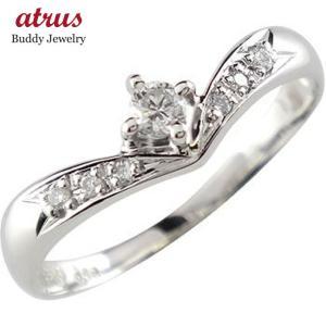 婚約指輪 エンゲージリング ハードプラチナ ダイヤモンド 一粒0.16ct ダイヤモンドリング ダイヤ ストレート|atrus