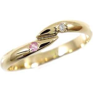 ピンキーリング ダイヤモンド ピンクサファイア イエローゴールドk10 指輪 k10 10金 ダイヤ ストレート 宝石|atrus