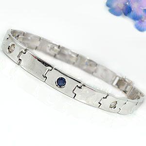 メンズ ブレスレット サファイア ダイヤモンド ホワイトゴールドk18 9月誕生石 18金ダイヤ 男性用 宝石 送料無料 atrus