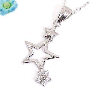 スター 星 フラワー 花 ペンダント ネックレス シルバー925 レディース|atrus