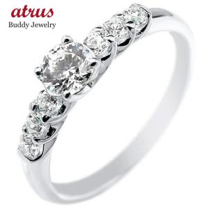鑑定書付き 婚約指輪  エンゲージリング ハードプラチナ ダイヤモンド0.53ct ダイヤ 一粒 大粒 pt950 ストレート|atrus