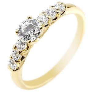 鑑定書付き 婚約指輪 ダイヤモンド エタニティ 指輪 0.53ct リング エンゲージリング イエローゴールドK18 一粒 大粒 SI ダイヤ 18金 ストレート 宝石|atrus