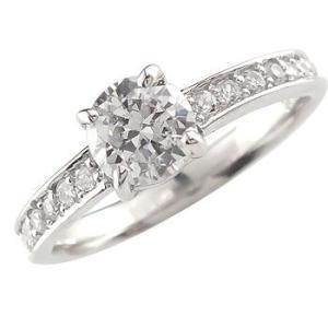 鑑定書付き 婚約指輪 ダイヤモンド エタニティ エンゲージリング リング ホワイトゴールドk18 ハーフエタニティ 一粒 大粒 18金 リング ダイヤ ストレート|atrus