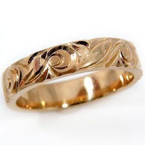 ハワイアンジュエリー エンゲージリング ハワイアンリング 指輪 ピンクゴールドK18 マイレ 葉 スクロール 波 婚約指輪 18金 k18pg ストレート シンプル 人気|atrus