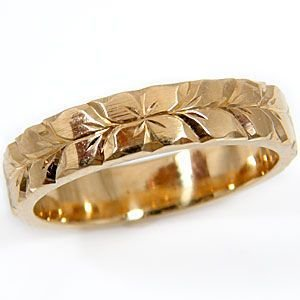 ハワイアンジュエリー エンゲージリング ハワイアンリング 指輪 ピンクゴールドK18 プルメリア 花 マイレ 葉 婚約指輪 18金 k18pg ストレート シンプル 人気|atrus