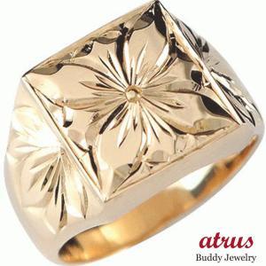 ハワイアンジュエリー 結婚指輪 エンゲージリング プロポーズリング ハワイアンリング 指輪 ピンクゴールドK18 プルメリア 花 マイレ 葉 婚約指輪 送料無料|atrus