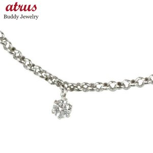 一粒 ブレスレット プラチナ850 ダイヤモンド0.08ct プラチナ ダイヤ アジャスターチェーン付 チェーン レディース atrus
