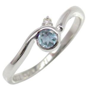 ピンキーリング サンタアクアマリンリング ダイヤモンド プラチナ指輪 3月誕生石 ダイヤ ストレート 宝石 送料無料|atrus