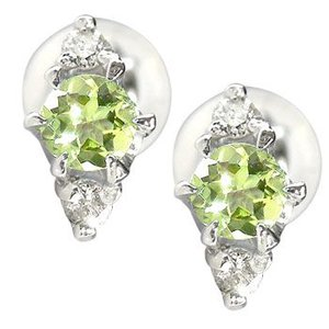ピアス メンズ プラチナ ペリドットピアスダイヤモンド プラチナ900PT900ダイヤ 男性用 宝石 送料無料|atrus