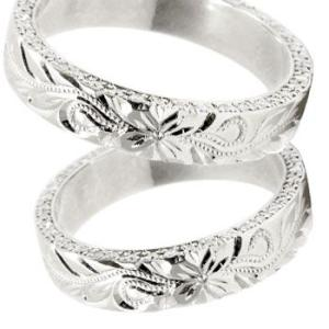 結婚指輪 ハワイアン ダイヤモンドペアリング マリッジリング ホワイトゴールドk18 ミル打ち ミル ダイヤ シンプル 人気|atrus