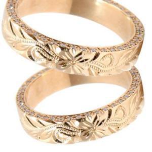 結婚指輪 ハワイアン ダイヤモンドペアリング マリッジリング ピンクゴールドk18 k18 ミル打ち ミル ダイヤ シンプル 人気|atrus