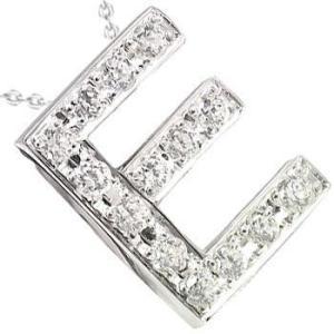 イニシャル ネーム ネックレス ダイヤモンド E ペンダント ホワイトゴールドK18 ダイヤ 0.18ct 人気ペンダント チェーン 18金 送料無料|atrus