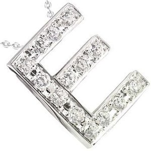 イニシャル ネーム ネックレス E ダイヤモンド ホワイトゴールドK18 ダイヤ 0.18ct 人気ペンダント 18金 レディース 送料無料|atrus