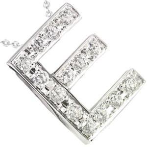イニシャル ネーム メンズ ダイヤモンド ネックレス E ペンダント ネックレス プラチナ900 ダイヤ 0.18ct チェーン 人気 男性用 送料無料|atrus