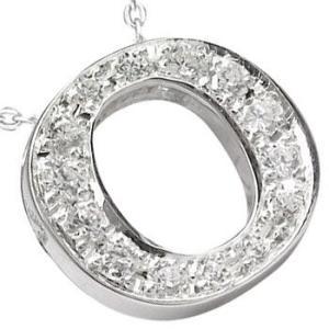 イニシャル ネーム ネックレス ダイヤモンド O ペンダント ネックレス ホワイトゴールドK18 ダイヤ 0.20ct 人気ペンダント チェーン 18金 送料無料|atrus