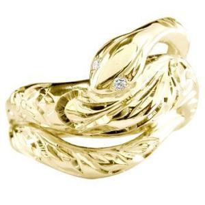 ハワイアンジュエリー メンズ ハワイアン 蛇 リング スネーク ダイヤモンド 指輪 イエローゴールドk18 オリジナル 手彫り ハワイアンリング ダイヤ 18金|atrus