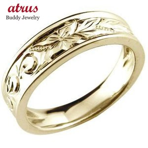 ハワイアンジュエリー メンズ ハワイアンリング 指輪 イエローゴールドk18 k18 オリジナルリング 18金ストレート 男性用 送料無料 atrus