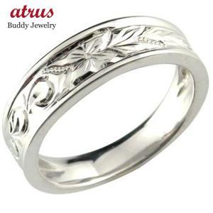 婚約指輪 ハワイアンリングエンゲージリング ハードプラチナリング 波 花 pt950 ストレート|atrus