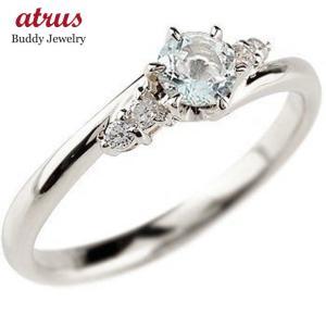 婚約指輪 エンゲージリング アクアマリン ダイヤモンド リング 指輪 一粒 大粒 ストレート シルバー 宝石 送料無料|atrus