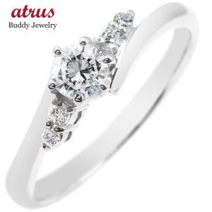 プラチナ ダイヤモンド 婚約指輪 エンゲージリング リング 一粒 大粒 ダイヤ ストレート あすつく 送料無料|atrus