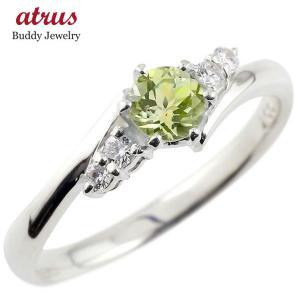 婚約指輪 ダイヤ 安い エンゲージリング ペリドット ダイヤモンド リング 指輪 一粒 大粒 ストレ...