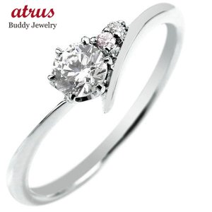 エンゲージリング プラチナ ダイヤモンド 婚約指輪 リング 一粒 大粒 ダイヤ ストレート ピンクダイヤモンド あすつく 送料無料|atrus