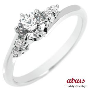 鑑定書付き VVS1クラス ホワイトゴールドK18 ダイヤモンド 婚約指輪 エンゲージリング リング 一粒 大粒 ダイヤ ストレート 18金|atrus
