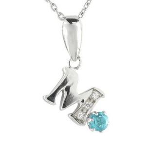ネックレス イニシャル ネーム M 名前 ネーム イニシャル ネーム ブルートパーズダイヤモンド ホワイトゴールドK1811月の誕生石 チェーン 人気 18金 ダイヤ|atrus