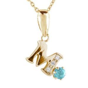 ネックレス イニシャル ネーム M 名前 ネーム イニシャル ネーム ブルートパーズダイヤモンド ピンクゴールドK1811月の誕生石 チェーン 人気 18金 ダイヤ|atrus