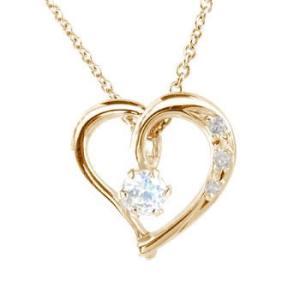 ダイヤモンド オープンハート ブルームーンストーン ネックレス 6月誕生石 ピンクゴールドK18 ダイヤ 18金 レディース 宝石 送料無料 atrus