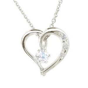 ダイヤモンド オープンハート 誕生石 ブルームーンストーン ネックレス 6月誕生石 ホワイトゴールドK18 チェーン 人気 18金 ダイヤ レディース 宝石 atrus