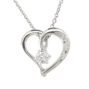 プラチナ ネックレス ダイヤモンド オープンハート ダイヤモンド 一粒 ハート チェーン 人気 ダイヤ あすつく 送料無料|atrus